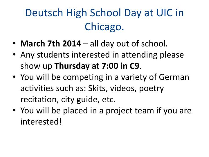 Deutsch High School Day at UIC in Chicago.
