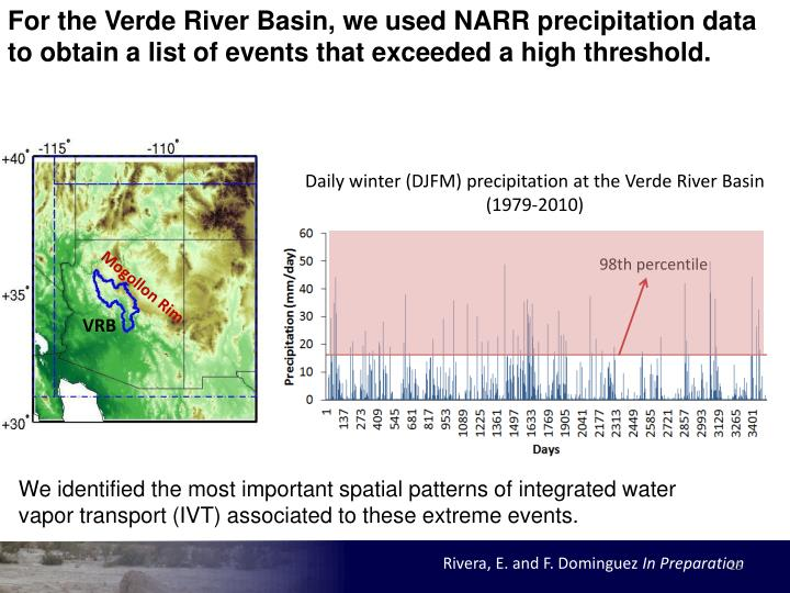 For the Verde River Basin, we used NARR precipitation data to obtain a list of events that exceeded a high