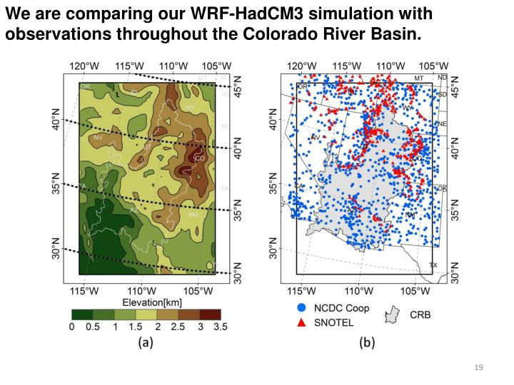We are comparing our WRF-HadCM3 simulation with observations throughout the Colorado River Basin.