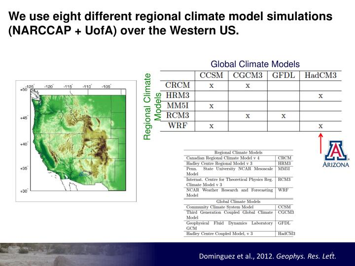 We use eight different regional climate model simulations (NARCCAP +