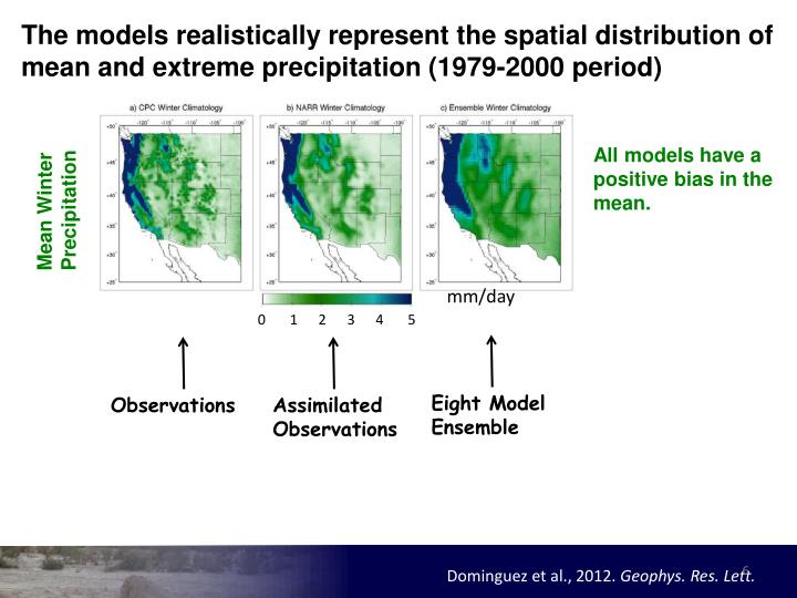 The models realistically represent the spatial distribution of mean and extreme precipitation (1979-2000 period)