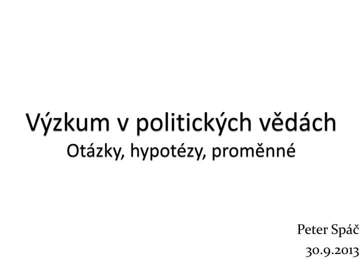 Výzkum v politických vědách