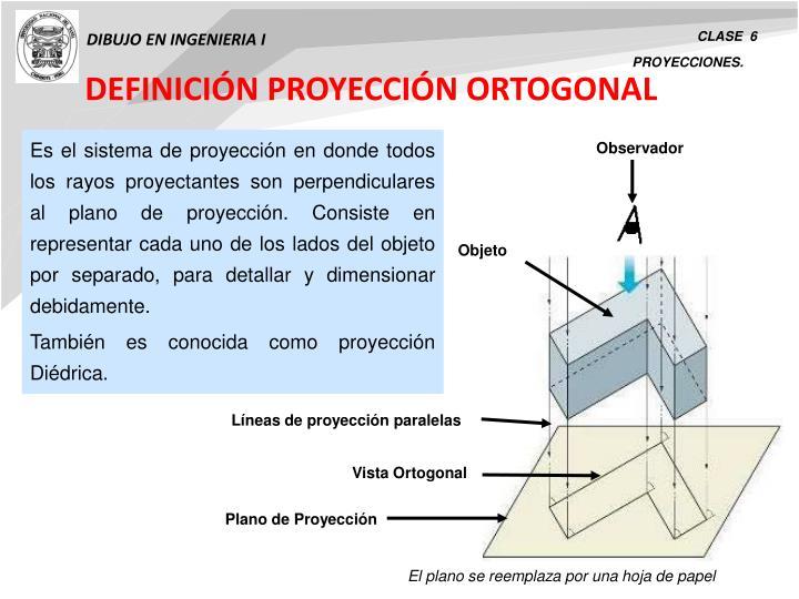 DEFINICIÓN PROYECCIÓN ORTOGONAL