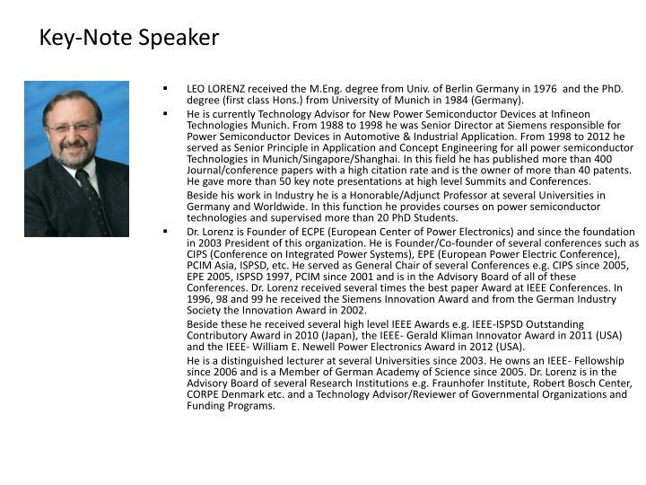 Key-Note Speaker