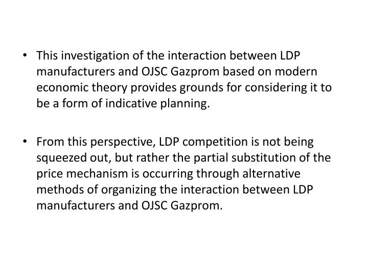 This investigation of the interaction between LDP manufacturers and OJSC