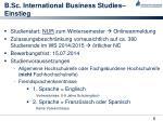 b sc international business studies einstieg