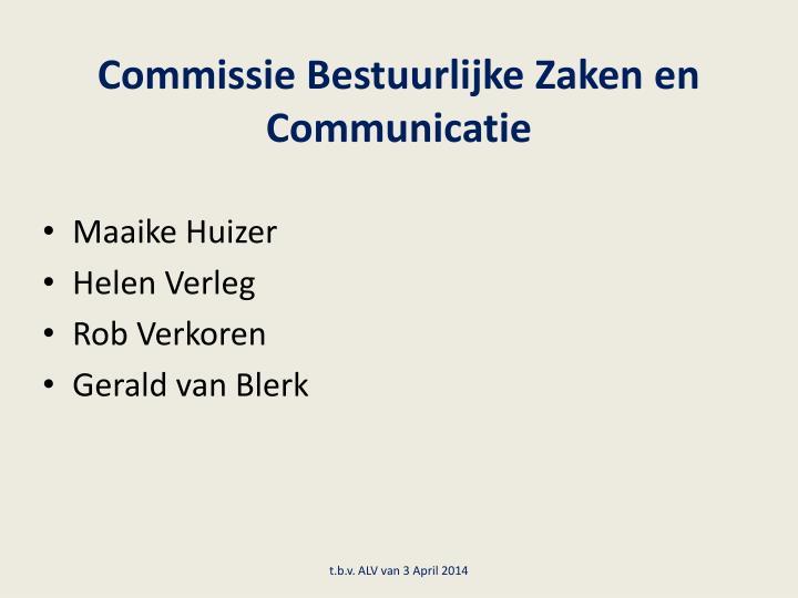 Commissie Bestuurlijke Zaken en Communicatie