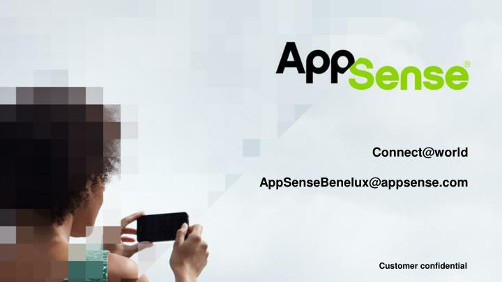 Connect @world appsensebenelux@appsense com