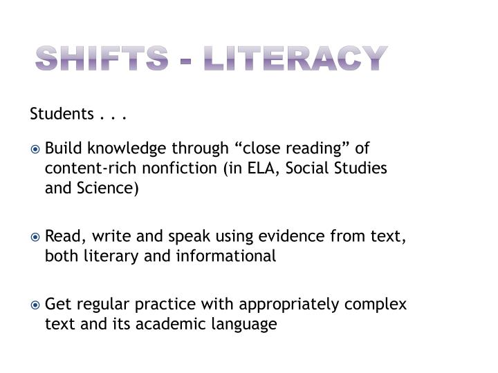 shifts - Literacy