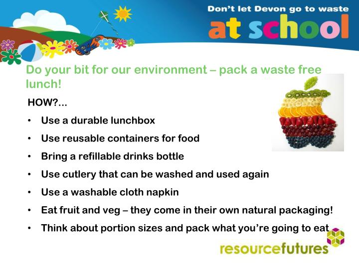 Do your bit for our environment – pack a waste free lunch!