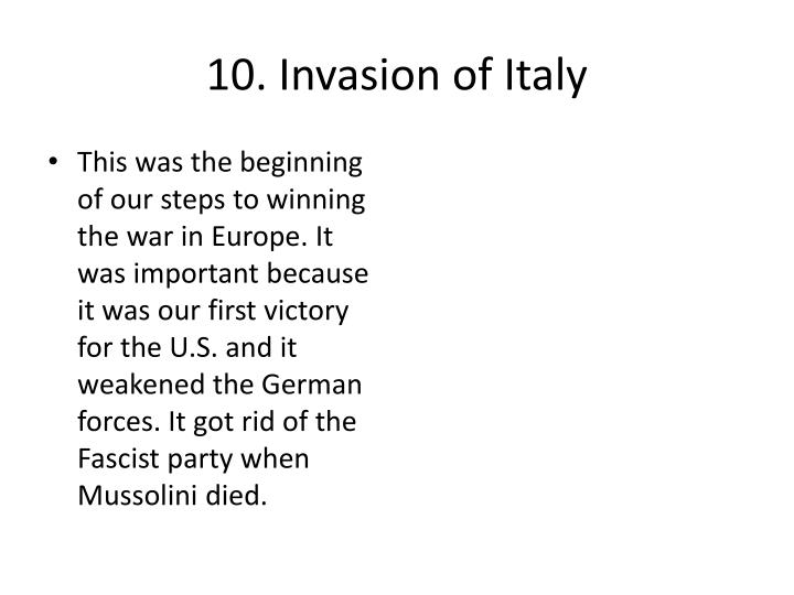 10. Invasion of Italy