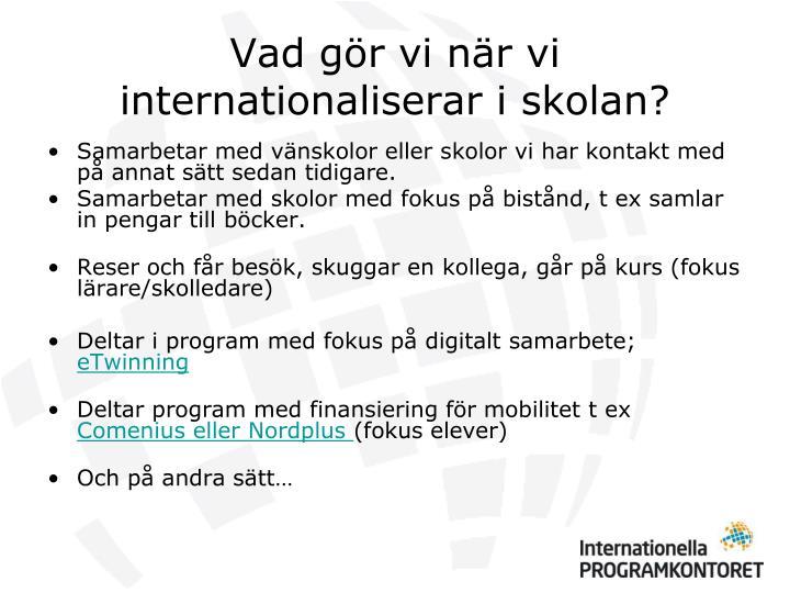 Vad gör vi när vi internationaliserar i skolan?