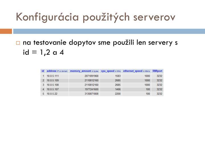 Konfigurácia použitých serverov