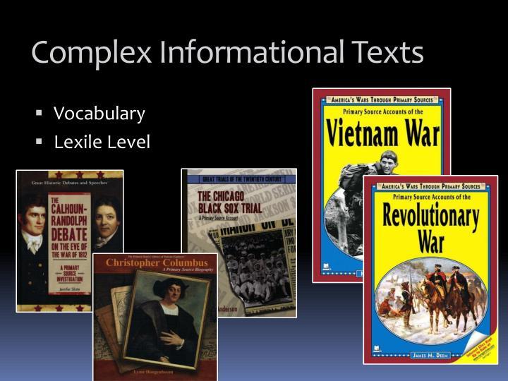 Complex Informational Texts