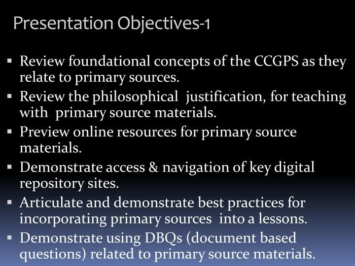 Presentation objectives 1