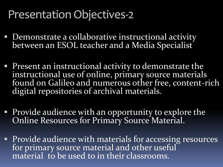 Presentation objectives 2