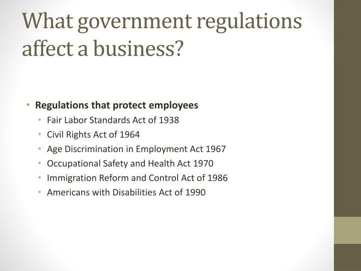 What government regulations affect a business