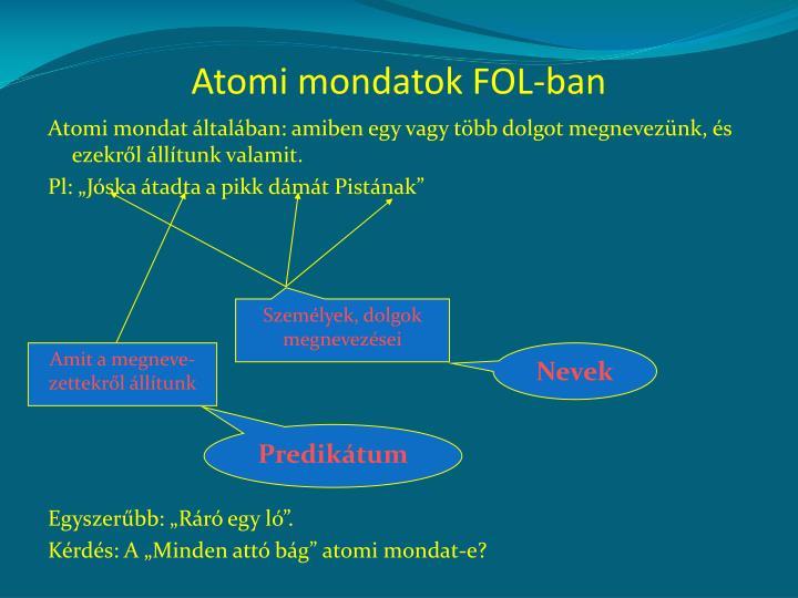 Atomi mondatok FOL-ban