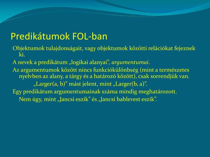 Predikátumok FOL-ban