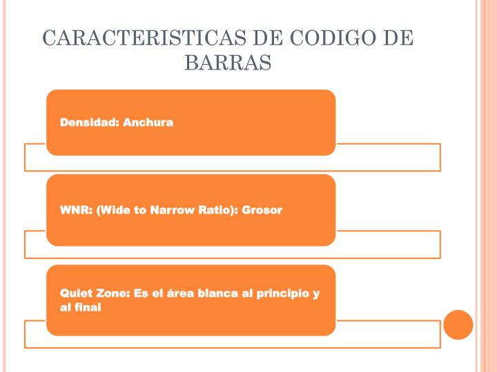 CARACTERISTICAS DE CODIGO DE BARRAS
