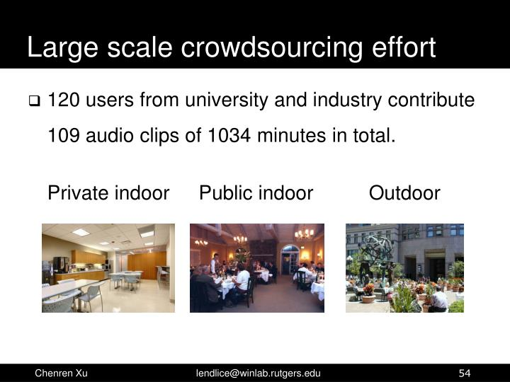 Large scale crowdsourcing effort
