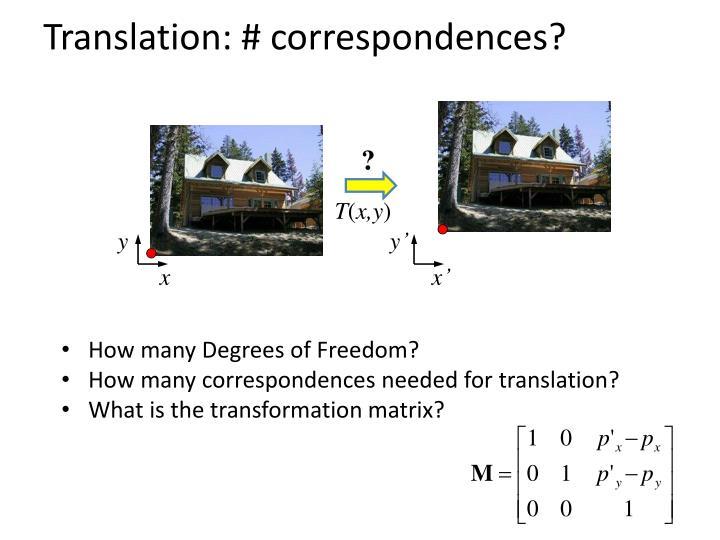 Translation: # correspondences?