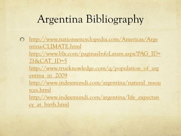 Argentina Bibliography