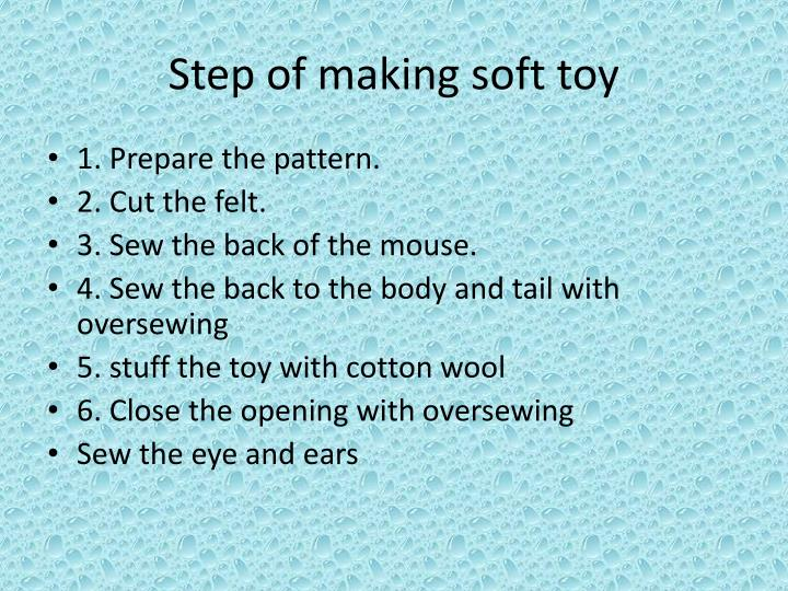 Step of making soft toy