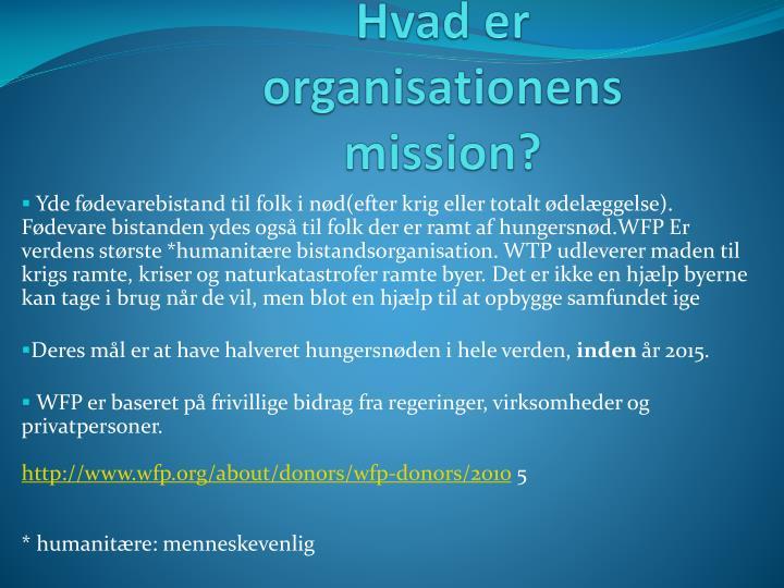 Hvad er organisationens mission?
