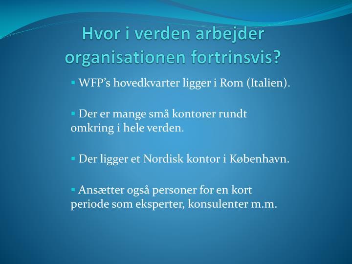 Hvor i verden arbejder organisationen fortrinsvis?