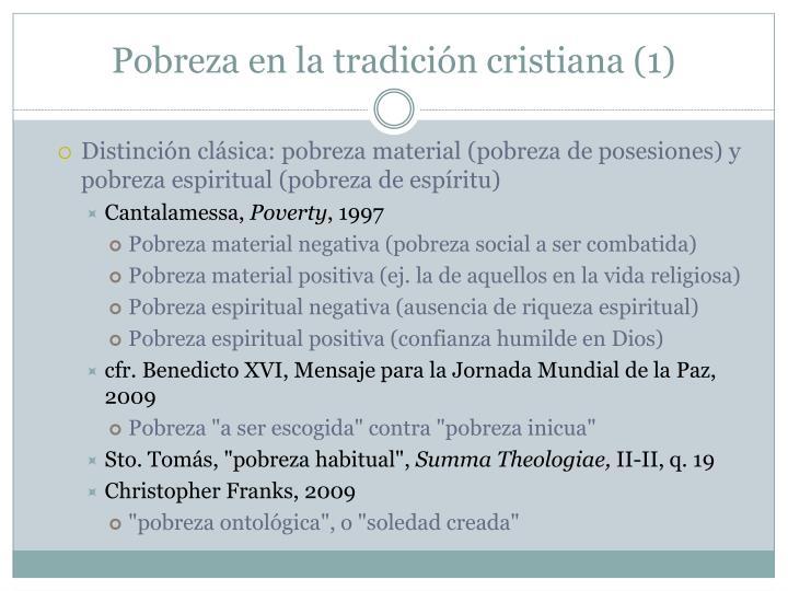 Pobreza en la tradición cristiana (1)