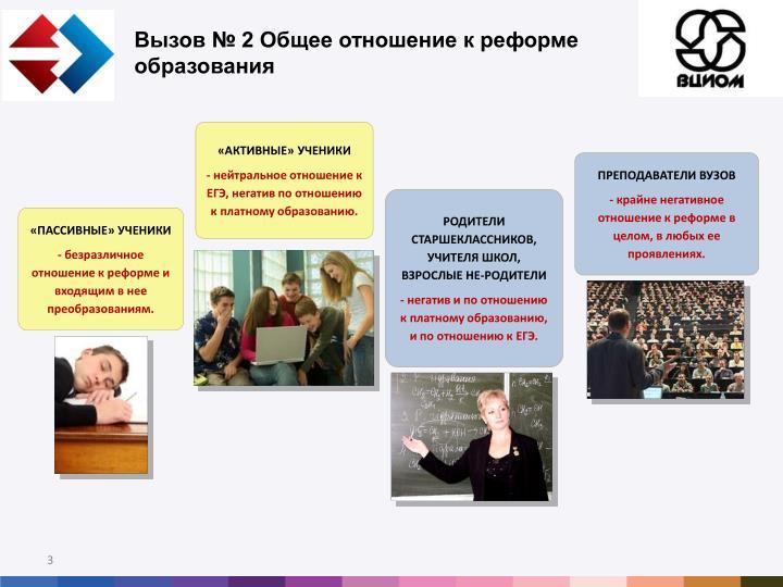 Вызов № 2 Общее отношение к реформе образования
