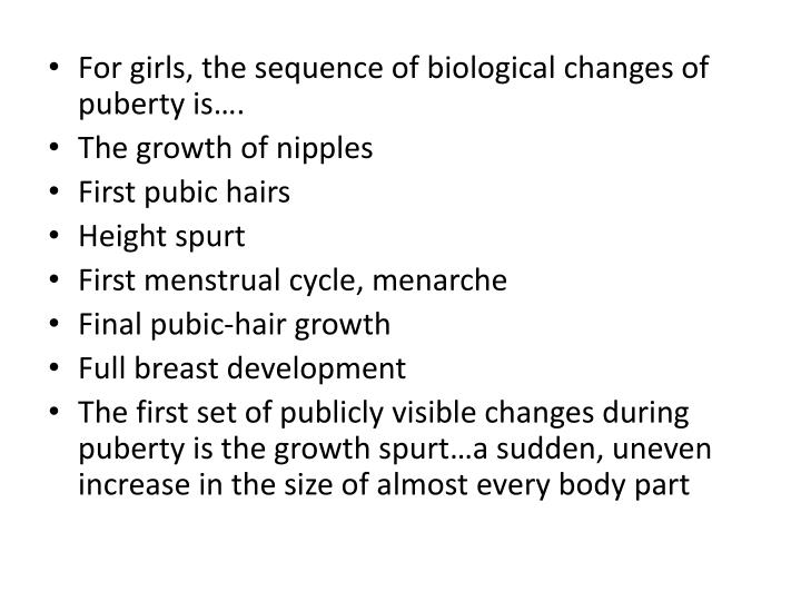 For girls, the sequence of biological changes of puberty is….