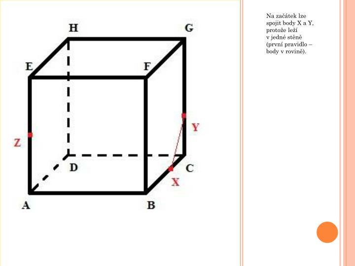 Na začátek lze spojit body X a Y, protože leží