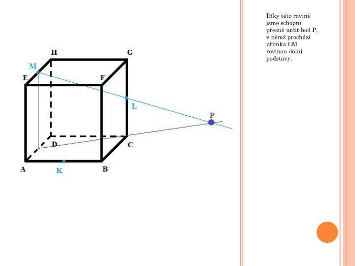 Díky této rovině jsme schopni přesně určit bod P, v němž prochází přímka LM rovinou dolní podstavy.