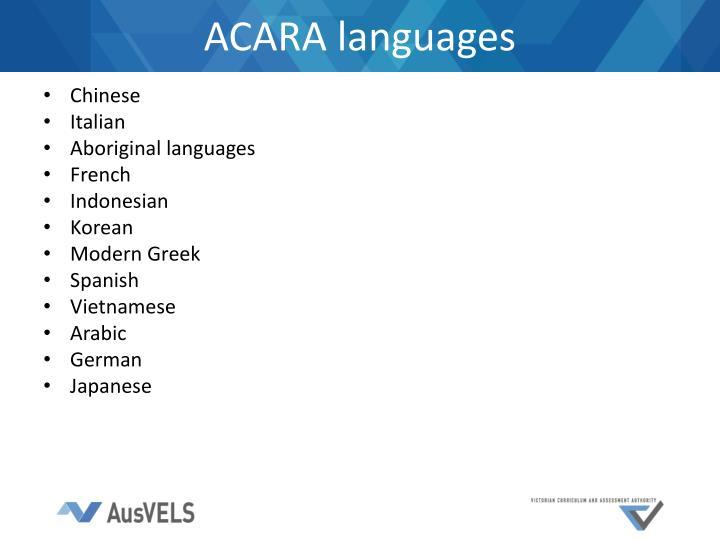 ACARA languages
