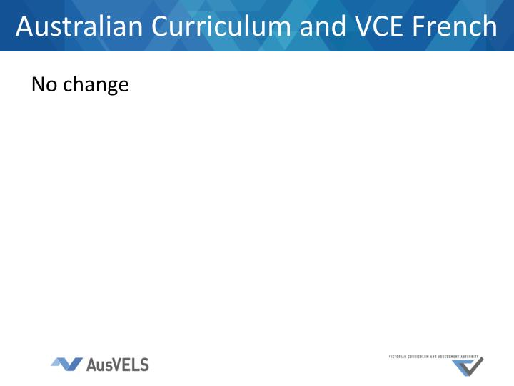 Australian Curriculum and VCE French
