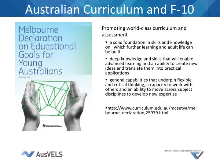 Australian Curriculum and F-10