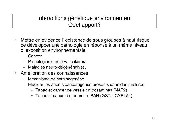 Interactions génétique environnement