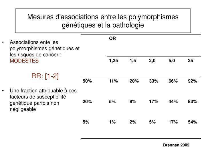 Mesures d'associations entre les polymorphismes génétiques et la pathologie