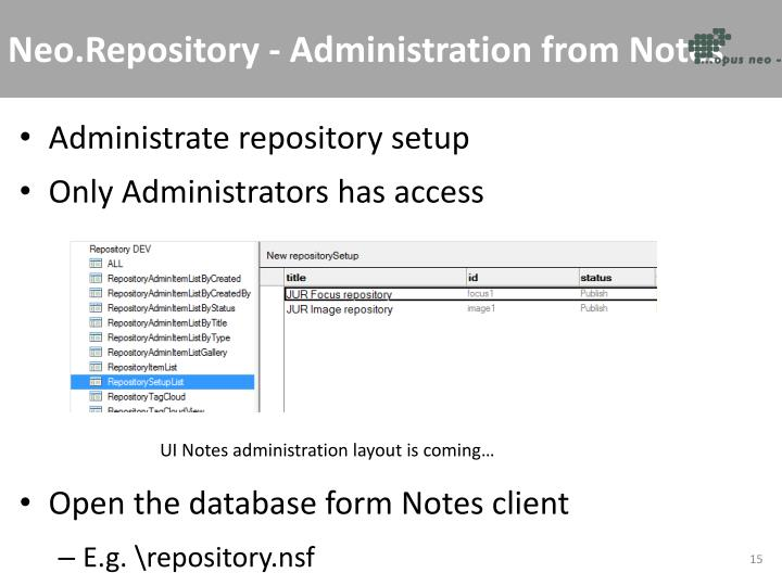 Neo.Repository - Administration from Notes