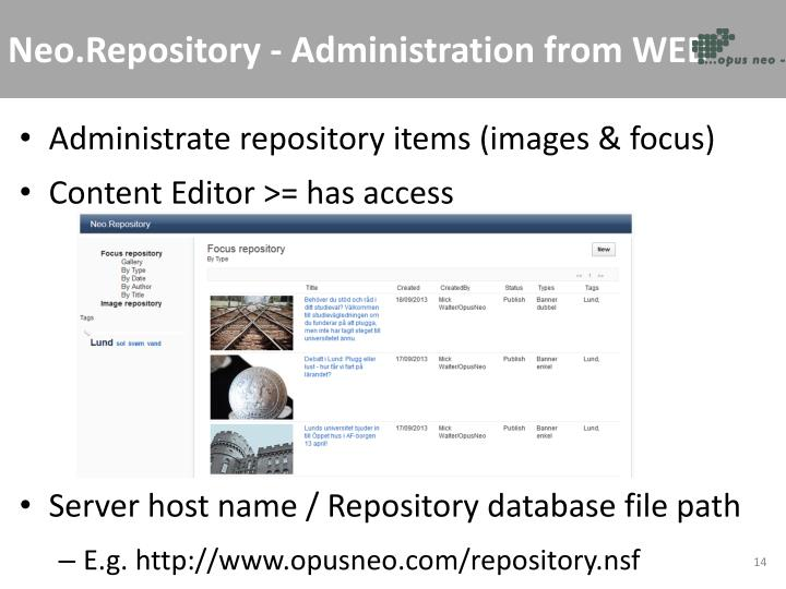 Neo.Repository - Administration from WEB