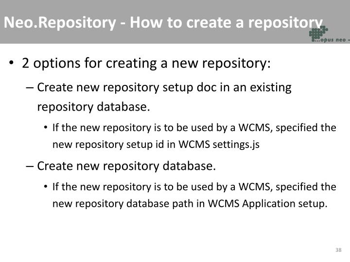 Neo.Repository - How to create a repository