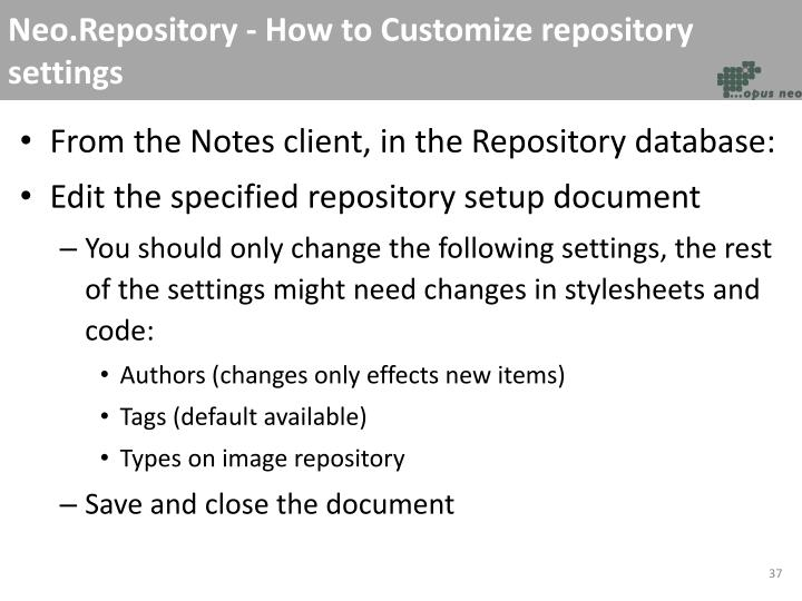 Neo.Repository - How to Customize repository settings