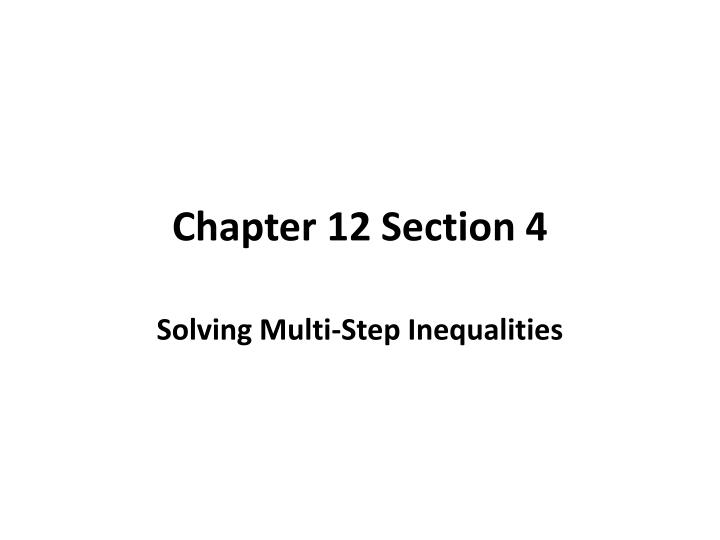 Chapter 12 section 4