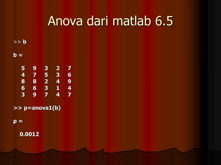 Anova dari matlab 6.5