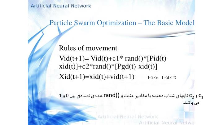 Particle Swarm Optimization – The Basic Model