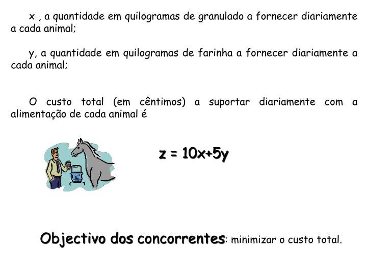 x , a quantidade em quilogramas de granulado a fornecer diariamente a cada animal;