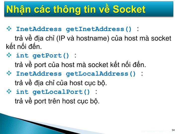 Nhận các thông tin về Socket