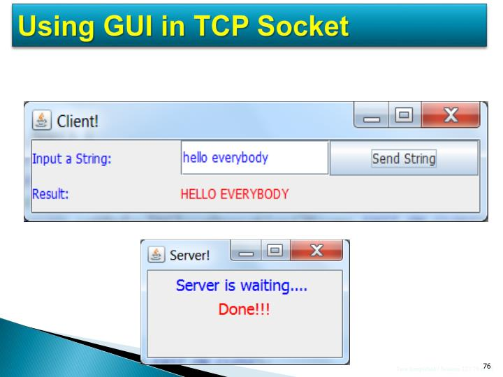 Using GUI in TCP Socket